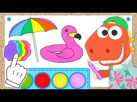 Videos de uñas -  Aprende con Eddie el dinosaurio cómo colorear una sombrilla, un flotador y un traje de baño