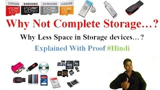 """In this video the reason for getting the less storage out of total capacity is explained in Hindi. If you like the video please do """"Like"""", """"Comment"""" and """"Share"""", Also """"Subscribe""""  the Chanel to get more updates like it.Follow Us On :""""Facebook"""" :   https://goo.gl/Rejwmz""""Instagram"""" : https://goo.gl/69ja7W""""Twitter"""" : https://goo.gl/418IHw""""G+"""" : https://goo.gl/ESfcTgSome Recommended Smartphones  - From 5,000 To 10,000 – 1. Redmi 4A (2GB, 16GB) 5999 - http://amzn.to/2qLHUIr2. Redmi 3S (2GB, 16GB) 6999 - http://fkrt.it/yCX~W!NNNN3. Lenovo Vibe K5 Plus (2 GB, 16GB) 7000 - http://amzn.to/2ruZ0Hx4. Moto E3 Power  (2GB, 16GB) 7999 - http://fkrt.it/ymco5!NNNN5. Redmi  3S Prime (3GB, 32GB) 8999 - http://fkrt.it/yXMJR!NNNN6. Lenovo K6 Power (3 GB, 32 GB) 9999 - http://fkrt.it/y6Iqd!NNNNFrom 10,000 To 20,000 – 1. Redmi note 4 (3GB, 32GB / 4GB, 64GB) 10999 / 12999 - http://fkrt.it/yTjQz!NNNN2. Lenovo Vibe K5 Note (4GB, 32 GB / 4GB, 64GB) 11499 / 12999 - http://fkrt.it/Ay0~0TuuuN3. Moto G4 Plus (2GB, 16GB / 3GB, 32GB) 11499 / 13649 - http://amzn.to/2rBQKYm4. Moto G5 (3GB, 16GB) 11999 - http://amzn.to/2soq8Ir5. Honor 6x (3GB, 32GB) 12999 - http://amzn.to/2qLT6EH6. Lenovo K6 Note (4GB, 32GB) 13999 - http://amzn.to/2ruF8Es7. Lenevo Z2 Plus (3GB , 32GB / 4GB , 64GB) 14999 / 15999 - http://fkrt.it/yS7yL!NNNN8. Moto G5 Plus (4GB , 32GB) 16999 - http://fkrt.it/AIW4OTuuuNFrom  20,000 To 30,000 - 1. ONE PLUS 3 (6GB , 64GB) 26999 - http://amzn.to/2soQeeg2. ONE PLUS 3T (6GB , 64GB)  29999 - http://amzn.to/2szWFKLFlagship Phones – 1. I Phone 7 - http://amzn.to/2rCbxLA2. I Phone 7 Plus - http://amzn.to/2rBZspx3. Samsung Galaxy S8 / S8 Plus - http://fkrt.it/yNGE8!NNNNBest Laptop For General Use & Youtube  -1.  Lenevo Ideapad 510 - http://fkrt.it/AEyarTuuuNSome Recommended Earphones / Headphones – 1.  JBL T150A (High Bass &  Good Quality) - http://fkrt.it/4VIBpTuuuN2. Sony On-Ear EXTRA BASS Headphones - http://amzn.to/2qLSSxzSome Recommended Memory Cards – 1. Samsung (16GB / 32GB) Class 10 80 MB/"""