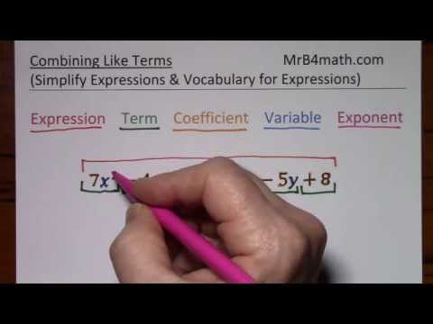 Combining Like Terms (simplify Expressions & Vocabulary For Expressions)