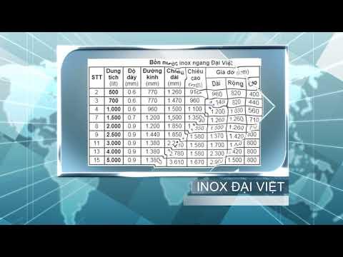 Thông số bồn nước inox Đại ThànhViệt