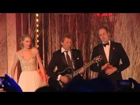 Taylor Swift, Bon Jovi, and Prince William sing 'Living On A Prayer' at the Winter Whites Gala