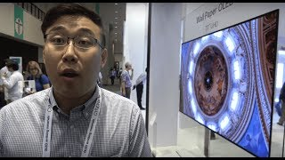 "LG shows their ultra-thin 77"" OLED wallpaper display, the thinnest in the world, displays with speakers built-in, and other leading display technology such as the LG Mobile and VR displays such as a bezel-less 5.5"" 4K smartphone display, Plastic Flexible or Conformed OLED displays for upcoming Flexible Smartphones, 31.5"" 4K HDR narrow bezel PC Monitor, 10bit Curved 37.5"" WQHD+ display, 14"" 4K for the laptop market, 31.5"" 8K Display, in-touch systems on 14"", 15"", 23.8"" laptop displays for the 2-in-1 market. LG also shows some automotive displays such as a conformed 12.3"" plastic OLED display, 12.3"" 60% Transparent OLED for the automobile HUD market, LCD and OLED display as a hybrid 12.3 MLD where LCD can be the background and the OLED can show the needle. A 6.13"" mirror display. They also show a 55"" FHD 40% Transparent OLED Display. Filmed at SID Display Week."