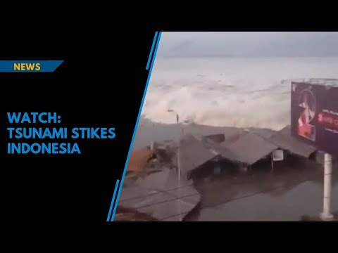 Watch: Powerful tsunami hits Indonesia