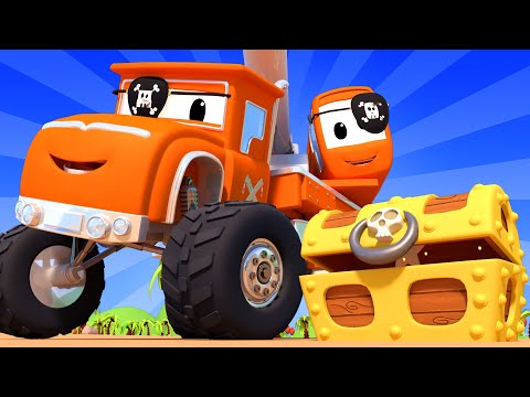 Monster Town with the Monster Truck Crane - The Treasure Hunt | Monster Trucks Cartoon for Children