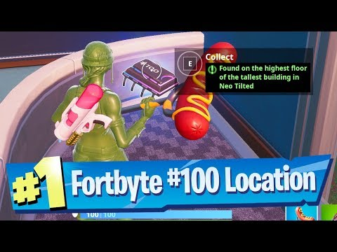 Fortnite Fortbyte #100 Location - Found on the highest floor of the tallest building in Neo Tilted
