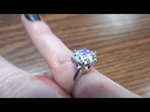 LADIES PLATINUM 4.02ct ROUND DIAMOND SOLITAIRE ENGAGEMENT RING 3 of 3
