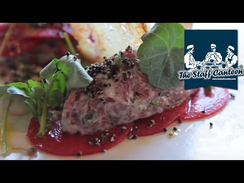 Bavette of Irish Beef tartar recipe with anchovy, salted leek buds, pickled red meat radish, quinoa