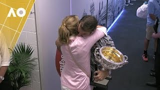 Roger Federer embraces his wife Mirka following his Australian Open 2017 men's singles final win.