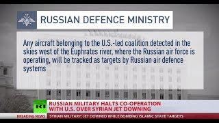 Russia halts co-operation with USA in Syria as US downs Syrian (SAA) jet-fighter over ISIS hold city of Raqqa. Recently US held a ...