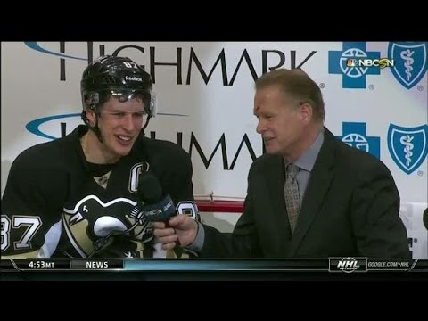 Video: Engblom jokes with Crosby after puck to face