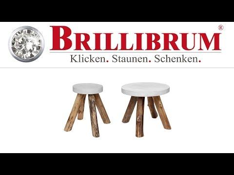 Beistelltisch Hocker Teakholz Beton online kaufen | Brillibrum Online-Shop