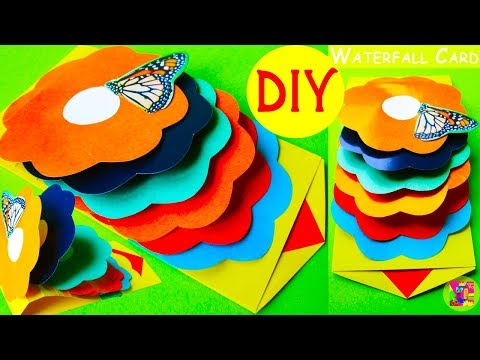 Birthday wishes for best friend - DIY How to make  a Waterfall Card step by step. Paper Pop Up Surprise Invitation Cards Ideas Easy
