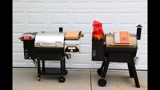 This is my Preview of the Camp Chef Woodwind Vs. The Traeger Pro Series 22. This preview is an unbiased account of my thoughts between the Traeger Pro 22 and the Camp Chef Woodwind. In full disclosure both grills were given to me by Camp Chef with the understanding that I provide a review that is not biased by the fact that they provided the grills. I have not yet cooked on either smoker. I will have a full review after I have used them both.My initial thoughts about these two pellet grills:* The Camp Chef Woodwind with the side sear box is $899* The Camp Chef Woodwind without the sear box is $699  The Woodwind grills come with  *Free Shipping * Free Cover * 1   bag of pellets.* The Traeger is $799. Shipping is $105, pellets are $19 and grill   cover is $54* Shipping is Free on the Woodwind Vs. $105 for the Traeger* Woodwind is privately shipped Vs. Shipped by UPS* The internal parts seem to be almost exactly similar* The heating rod sticks out farther into the heating pot on    Woodwind* The Woodwind has rubber wheels Vs. Plastic wheels* The Traeger is overly sturdy making it hard to move* The Woodwind has 4 wheels making it easy to maneuver* Build time was an hour for both grills* The Woodwind had more sharp edges on the parts* They both have a pellet release* The Woodwind has an ash catcher (This is definitely a time saver)* The Traeger has 2 meat probes. The Woodwind has one* The meat probe port is a sliding piece of metal on the Traeger* The meat probe port on the Traeger is rubber* The Control panel is more advanced on the Woodwind* Magnet on Woodwind hopper box* The hopper box on the Woodwind is bigger than the Traeger and     can be used as a shelf* There is an auger guard on the Woodwind. This can be a plus or a    minus* Fuse access on control panel of the Woodwind* 3 Year warranty on both         *******The side sear box is a definite bonus*******Camp chef Woodwind Information: https://www.campchef.com/woodwind/woodwind-grills.htmlSee all Camp Chef Produc