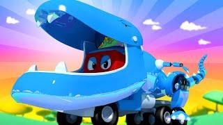 Video Carl Si Truk Super 🚚 ⍟  Spesial Jurrasic - Trek T-rex Robot  - truk kartun untuk anak-anak MP3, 3GP, MP4, WEBM, AVI, FLV Maret 2019