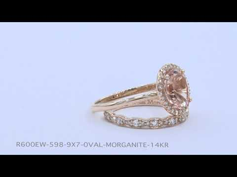 Halo Diamond Oval Morganite Bridal Set in Rose Gold Scalloped Band