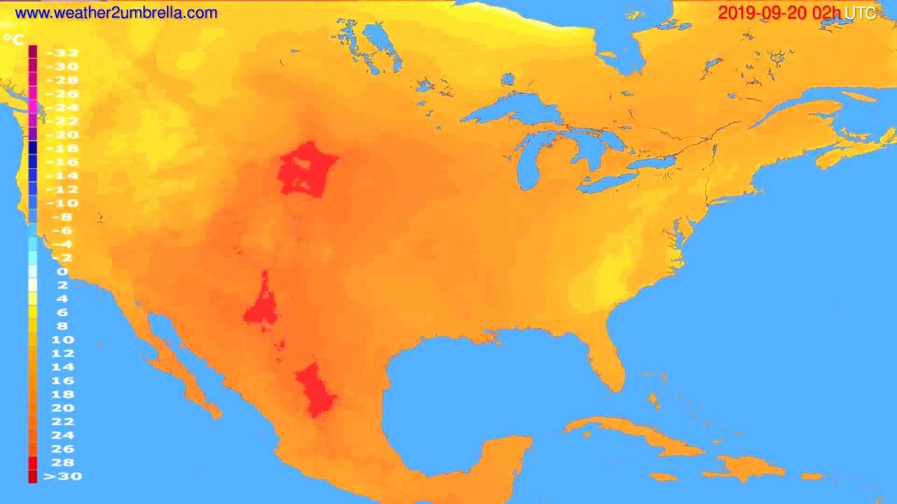 Temperature forecast USA & Canada // modelrun: 12h UTC 2019-09-17