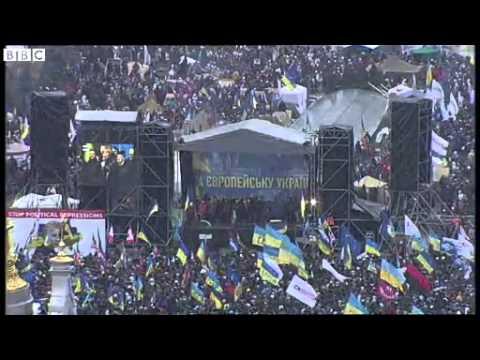 BBC News   Ukraine ;s capital Kiev gripped by huge pro EU demonstration