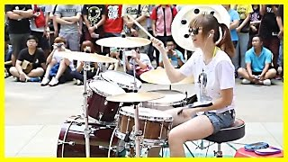 Video Amazing Girl Drummer Does BIGBANG - Fantastic Baby Street Performance MP3, 3GP, MP4, WEBM, AVI, FLV November 2017