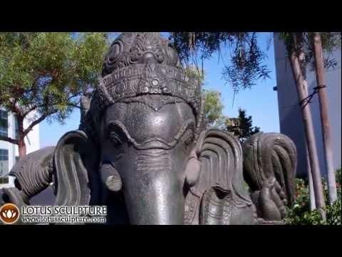 SOLD Stone Green Ganesh Garden Statue 43