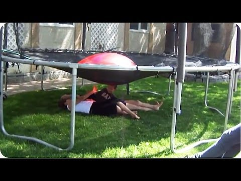 Dad Pranks Kids With Trampoline