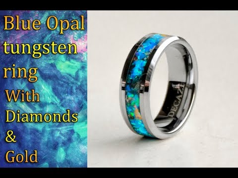 Tungsten Ring with crushed blue opal & diamonds