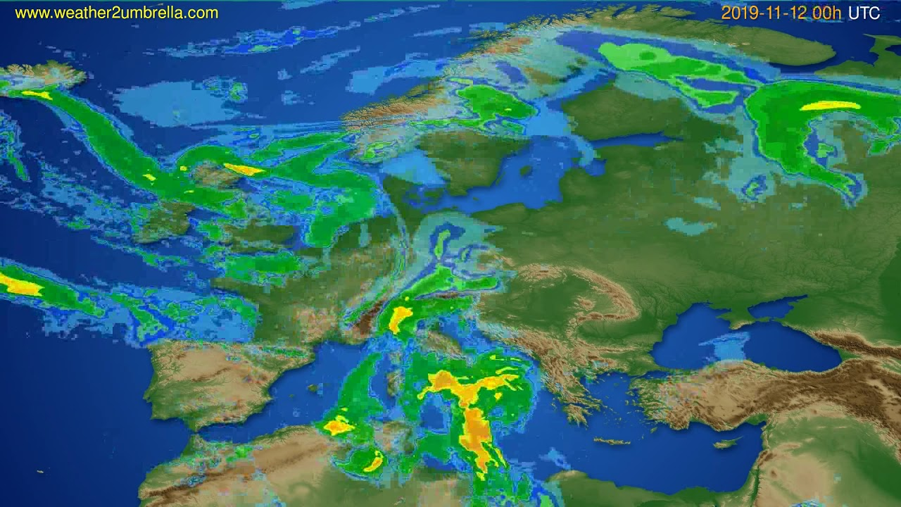 Radar forecast Europe // modelrun: 12h UTC 2019-11-11