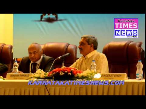 Bengaluru: Defence Minister Manohar Parrikar addressing in  a press conference At Aeroshow