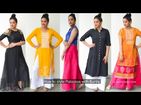 How to style palazzo with kurtis | Indian ethnic wear | Perkymegs