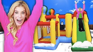 Video 24 Hours inside a GAME MASTER BOUNCE HOUSE! (Who Wins $10,000 & Matt Missing in Top Secret Hideout) MP3, 3GP, MP4, WEBM, AVI, FLV Juni 2019
