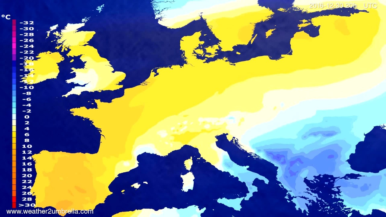 Temperature forecast Europe 2016-12-28