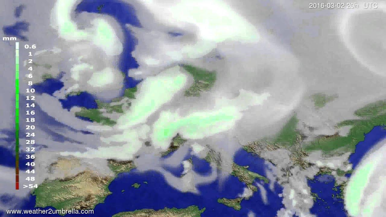 Precipitation forecast Europe 2016-02-29