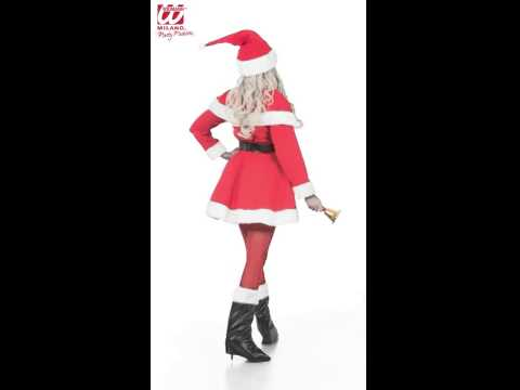 Déguisement super deluxe miss Noël avec robe, ceinture, cape, couvre bottes et chapeau