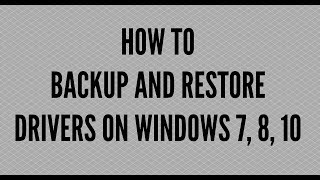HOW TO BACKUP AND RESTORE DRIVERS ON WINDOWS 7, 8, 10BACKUP AND RESTORE DRIVERS ON WINDOWS 7, 8, 10Backing up computer hardware drivers is important for many reasons.  Hardware will not work without a driver so when you wipe / format your computer the drivers will be lost. Hardware like Network Driver, Graphics Driver etc will not work. Now if this is the only computer you have you will not be able to download the latest driver for your NIC card which means no internet. Now unless you have the motherboard CD or access to the internet you will be scuppered. Hence why backing up drivers is important. Double Driverhttps://www.techspot.com/downloads/6179-double-driver.htmlPowerShell Export-WindowsDriver -Online -Destination C:DriverBackupNeed help with computer problems? join my forumhttp://www.briteccomputers.co.uk/forum