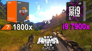 i9 7900x vs Ryzen 7 1800x in Arma 3 APEX (UltraLow Settings)Low Settings - 02:04System: Windows 10AMD Ryzen 7 1800x 3.6GhzGigabyte GA-AB350-Gaming 3RAM 3200MhzIntel i9 7900x 3.3GhzASUS PRIME X299-ARAM 3200MhzGTX 1070 8Gb16Gb RAM