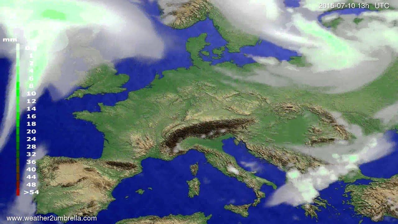 Precipitation forecast Europe 2015-07-06