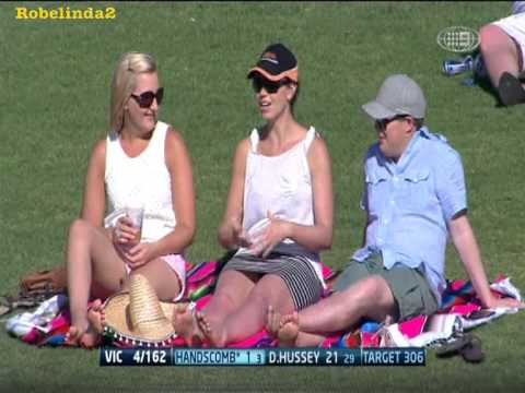 Cricket - Yvonne Sampson from Ch 9 having some fun.