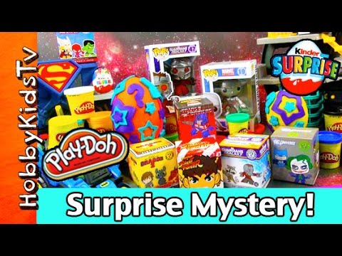 surprise - HobbyKidsTV presents Play Doh Eggs Kidrobot Guardians of the Galaxy Surprise Mystery Extravaganza! In this video HobbyDad and HobbyKid Open up Kidrobot, Kinder Egg Surprise, Mystery Minis...