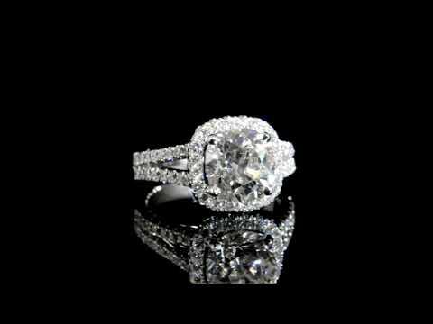 CGL Certified 3.02ct Cushion Brilliant Cut Diamond Ring