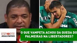 Comentarista Vampeta, da Rádio Jovem Pan, analisou a eliminação do Palmeiras para o Barcelona-EQU nas oitavas de final da...