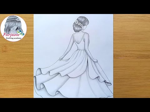 How to draw a girl with beautiful dress -step by step  Pencil sketch for beginners  Girl Drawing