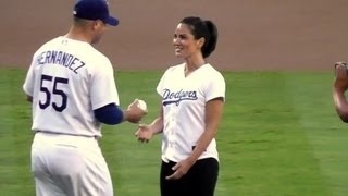Olivia Munn Throws First Pitch At Dodger Stadium - Actress From HBO's The Newsroom&Fox's New Girl