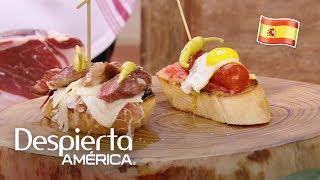 El Chef Miguel Rebolledo preparó estos deliciosos bocadillos también conocidos como 'pintxos', los cuales son ideales para compartir mientras vemos un partido o convivimos tomando un buen vino.SUSCRÍBETEhttp://bit.ly/20L91KL Síguenos enTwitterhttps://twitter.com/DespiertaAmericFacebookhttp://facebook.com/despiertamericaVisita el sitio oficialhttp://www.univision.com/shows/despierta-america/inicio En Despierta América encontrarás, tips de belleza, recetas, invitados famosos, entrevistas exclusivas , noticias, rutinas para ponerte en forma y  mucha diversión. Karla Martínez, Alan Tacher, Satcha Pretto, Johnny Lozada, Ana Patricia y Francisca te esperan todos los días de Lunes a Viernes 7AM/6C por Univision