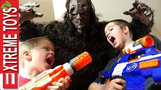 Wild Bigfoot Horror! Sasquatch Monster Attacks! Ethan and Cole With Nerf Blasters Fight the Beast
