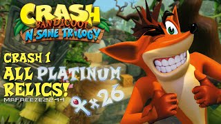 In this video I'll be showing you how to get all 26 platinum relics in Crash Bandicoot 1 from the N. Sane Trilogy remaster. Took a lot of time and effort to make this video so i would really appreciate it if you could drop a like on this video. Thank you for watching.Crash Bandicoot 1 - N. Sane 100% Walkthrough Full Playlist: https://www.youtube.com/playlist?list=PLdeeW1xZ0DlNQypV_fV76Wv2lDm8F7n5nTimestamps for each platinum relic:N. Sanity Beach - 0:00 Jungle Rollers - 0:59 The Great Gate - 2:18 Boulders - 3:34 Upstream - 4:47 Rolling Stones - 5:55 Hog Wild - 7:12 Native Fortress - 8:27 Up the Creek - 11:06 The Lost City - 12:53 Temple Ruins - 14:56 Road to Nowhere - 16:46 Boulder Dash - 18:16 Whole Hog - 20:03 Sunset Vista - 21:11 Heavy Machinery - 25:17 Cortex Power - 27:28 Generator Room - 28:32 Toxic Waste - 30:06 The High Road - 31:28 Slippery Climb - 33:02 Lights Out - 35:54 Fumbling in the Darkness - 37:21 Jaws of Darkness - 39:15 Castle Machinery - 41:21 The Lab - 44:07