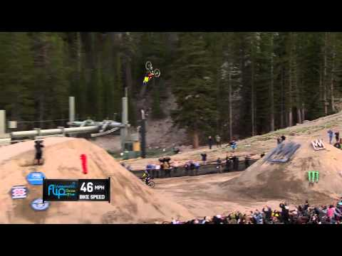 flip - Cam Zink successfully landed a 100-foot dirt-to-dirt mountain bike backflip to set a new Guinness World Record at Mammoth Mountain on Aug. 21, 2014.