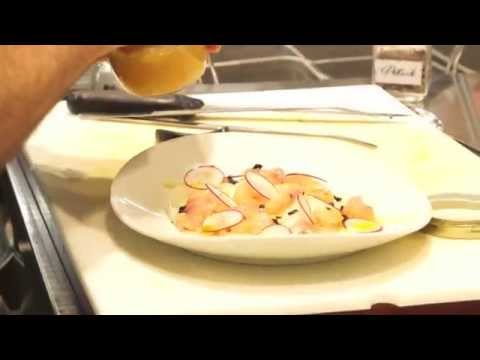 Carpaccio di trota marinata con asparagi di Cantello