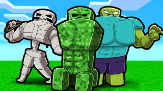 Minecraft but MOBS get RIPPED! (Mobs Level up if DAMAGED)