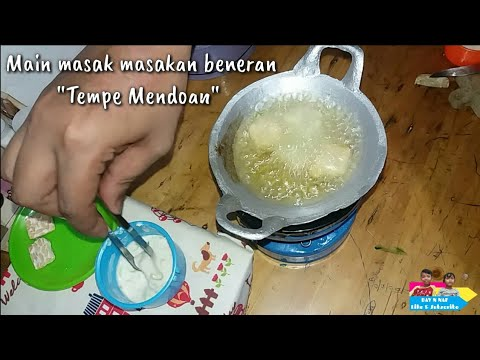 "Miniature Cooking ""Fried Tempe"" Indonesian tiny food 