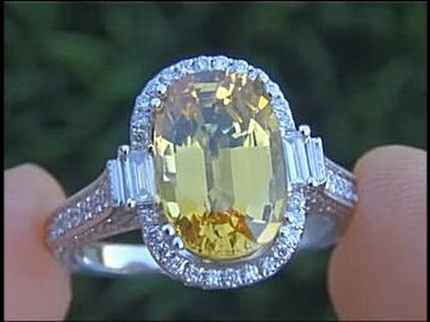 VVS1 Clarity 6.53 Carat Yellow Sapphire & Diamond Ring - Estate Sale eBay