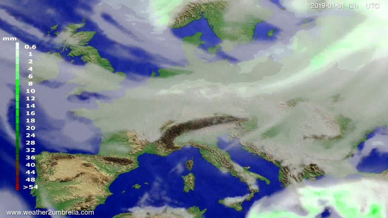 Precipitation forecast Europe 2018-12-30